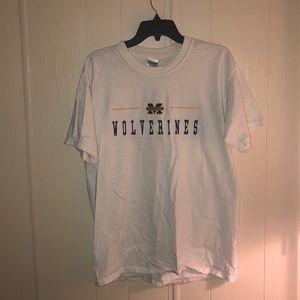Used Michigan wolverines white t-shirt shirt Slv
